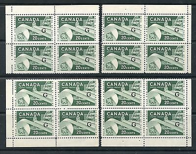 Weeda Canada O45a VF mint NH M/S of blocks, Flying G Official overprint CV $180