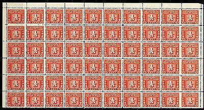 Weeda Canada FX54 1/5c red Three Leaf Excise Tax issue, MNH block of 60. CV$58+
