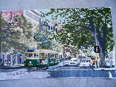 Melbourne. Completed Longstitch. 69cm x 49 cm. Has been mounted.