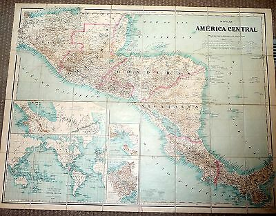 1905 Large ANTIQUE MAP CENTRAL AMERICA In Case Scarce PANAMA NICARAGUA GUATEMALA