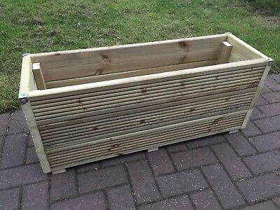 TALL JUMBO EXTRA LARGE 3FT Long Wooden Planter Trough Decking Garden Plant Tub