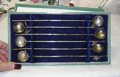 Vtg. Japanese 950 Sterling Silver Bamboo Ice Tea Straw Spoons Boxed Set (6)