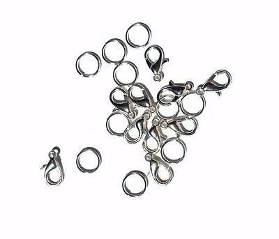 Lobster Claw Clasps with Split Rings  10 Findings DIY Craft Making Jewellery