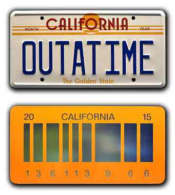 Back to the Future / OUTATIME + 2015 *STAMPED* Prop Replica License Plate Combo