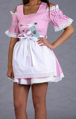 SEXY,Germany,German,Trachten,Fest,Oktoberfest,Dirndl Dress,2-pc.Sz.10,Pink,White