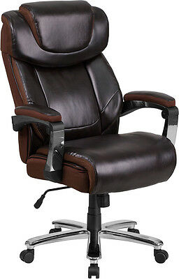 Big & Tall Brown Leather Executive Office Chair Extra Wide Seat 500Lb.Capacity