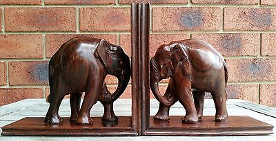 Antique Vintage Retro Hand Carved Hardwood Elephant Bookends Pair Wooden