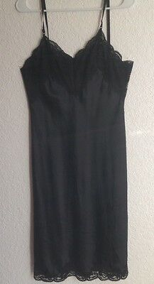 Womens Vintage Black Satin Full Slip w Lace Bodice WonderMaid S M
