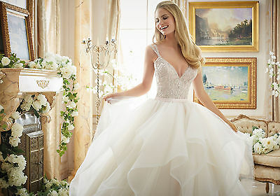 Brand New Mori Lee Dazzling Beaded Bodice Bridal Gown Style 2887 free shipping