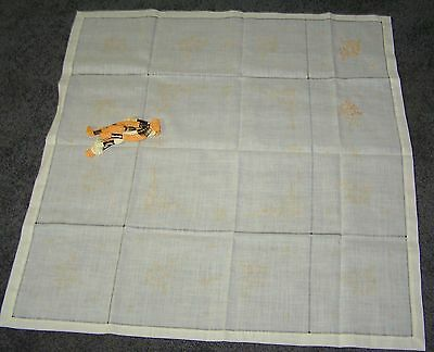 "Tablecloth Embroidery Traced Stamped Cream Cotton Voile 86cm 34"" Yellow Started"