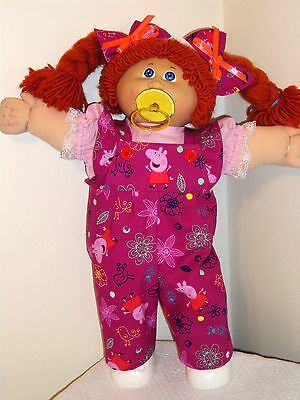 """Clothes for Cabbage Patch Kids PEPPA PIG RUFFLED BIB OVERALLS FOR 16-18"""" DOLLS"""