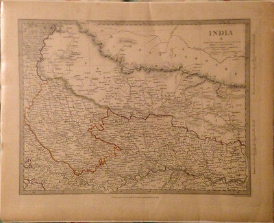 1834 SDUK Map India X - North India Nepal Ganges River