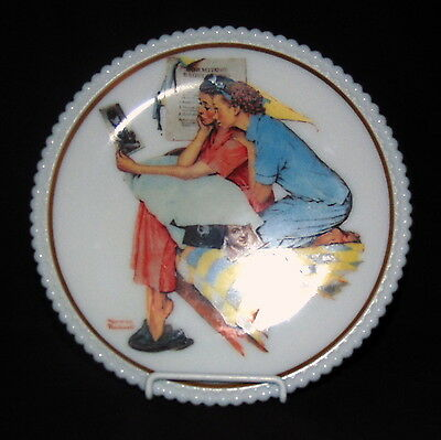 """Westmoreland BEADED EDGE NORMAN ROCKWELL *8 1/4"""" LUNCHEON PLATE w/STICKER*BE16*"""