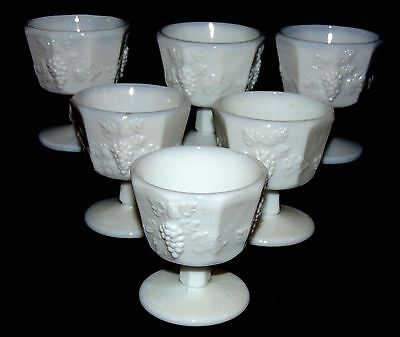 "6 Westmoreland PANELED GRAPE WHITE *3 1/2"" LOW FOOTED SHERBETS*"
