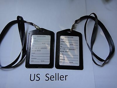 2X-ID Card Holder Vertical strap Lanyard Genuine Leather / Retractable Badge