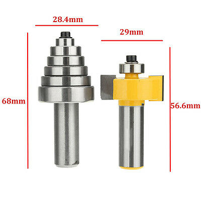 "1/2"" Shank 2-Flute Rabbet Router Bit Woodworking with 6 Bearings Set Kit Tool"