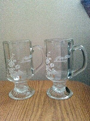 """Set of 2 glass pedastal mugs with floral design & """"Happy 50th Anniversary"""""""