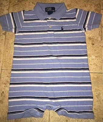 Toddler Boy's Blue Striped Ralph Lauren Polo Romper Size 12 Months