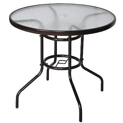 "32"" Patio Round Dining Table Tempered Glass Outdoor Yard Garden Furniture Deck"