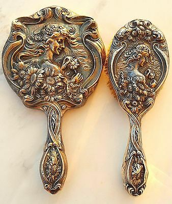 "Unger Bros Antique Art Nouveau ""He Loves Me"" Sterling Silver Mirror & Hair Brush"