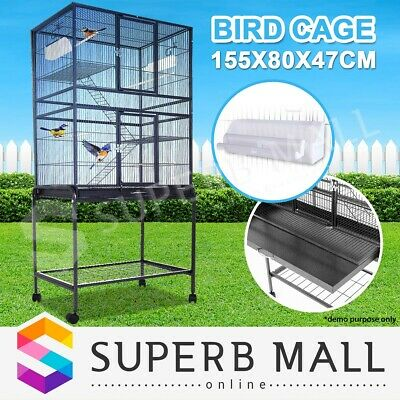 Stand-Alone Parrot Aviary Budgie Canary Bird Cage on Wheels Large 155x80x47cm