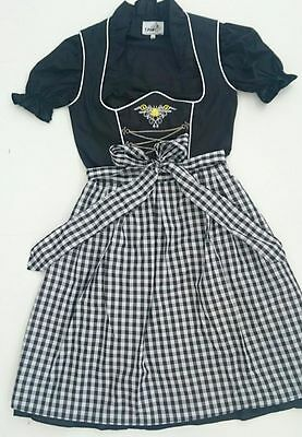 German,Trachten,May,Oktoberfest,Dirndl Dress,3-pc.Sz.10,Black,White.Embroidered