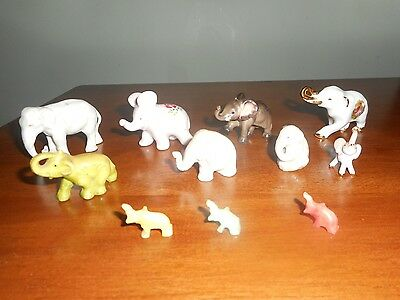 Elephant Figurines Including Limoges and Occupied Japan (lot of 11)