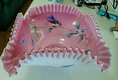 Mt Washington enamel bird brides basket bowl pink white cased glass.