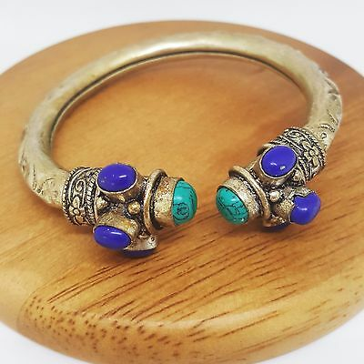 Tibetan Antique Collectible Silver Hand Woven Turquoise Bracelet Hand Chain
