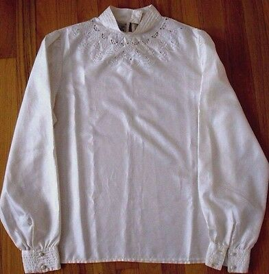 Vintage blouse, ivory satin material, embroidered, sz 12, Beautiful!