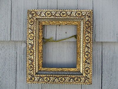 NICE untouched Finish Antique Silver & Gold Gilt Gesso Picture Frame fits 8 x 10