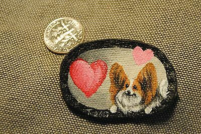 Original Painting~Papillon Dog~Hand Painted~Valentine~PATCH~Sew on~Whimsical~LUV