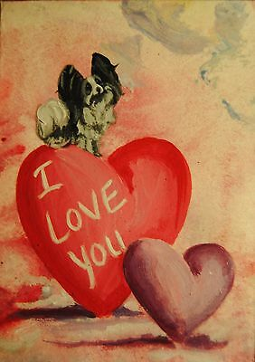 Original Painting~ACEO~Papillon~Black~Dog~Hand Painted~Valentine~CARD~i Love You