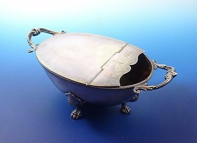 Victorian Silverplate Spoon Warmer with Claw Feet and Bead Handles