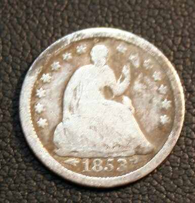 1853 With Arrows Seated Liberty Silver Half Dime 1/2 10C