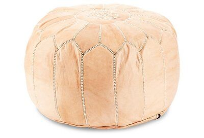 Stunning Moroccan Leather Ottoman Pouffe Pouf Footstool In Light Natural Tan
