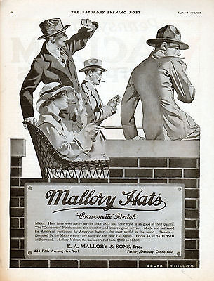 1917 Mallory Hats ad Illustrated by Coles Phillips ---=645