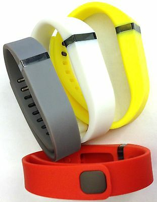 Set Large Grey White Yellow Tangerine Bands For Fitbit Flex Bracelet /No Tracker