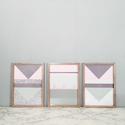 3 x  Abstract Geometric Pastel FRAMED Poster Print Home Art A3 Size