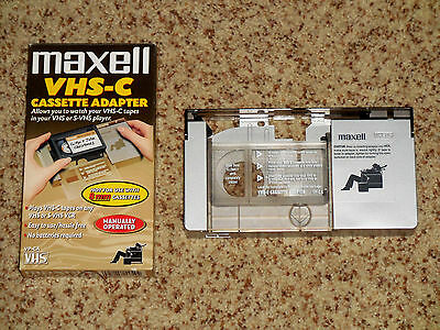 Maxell VHS-C Cassette Adapter for VHS / S-VHS VCR Manually Operated VP-CA