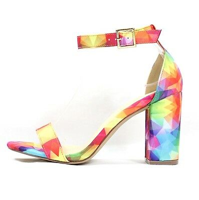 43c599c306f Liliana Luda-31 Multi Color Open Toe Chunky Block High Heel Sandals Shoes