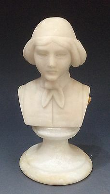 Art Deco Carved Alabaster Bust Venice Young Scholar 17 cm