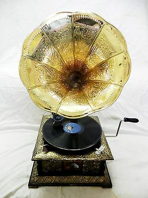 Antique Gramophone Phonograph Crafted Machine With Crafted Brass Horn