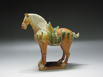 Chinese Tang Three-color Pottery Horse Green white Brown Glaze Statue Horse