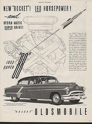 1952 Oldsmobile car ad rocket super 88 160 HP--252