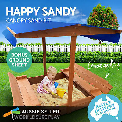Deluxe Wooden Sandpit Toy Box Kids With Canopy Covered Outdoor Bench Play Seat