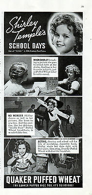 "1937 Quaker Puffed Wheat Cereal ad -Shirley Temple ""Heidi"" Movie ad -837"