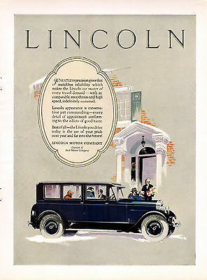 1926 Lincoln Car Ad --Art by Fred Cole --z932