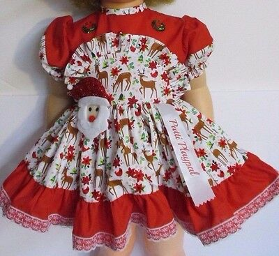 Custom Made Christmas Dress For Patti Playpal with Lace Back Pants & Santa Hat