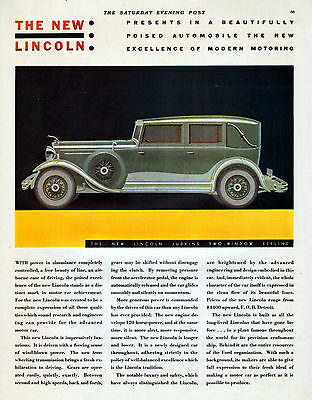 1931 Lincoln Car Ad --The New, Lincoln Judkins Two Window Berline----z499